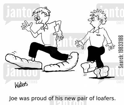 shoe shop cartoon humor: Joe was proud of his new pair of loafers.