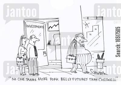 inveasted cartoon humor: 'No one trades more pork belly futures than Cogswell.'