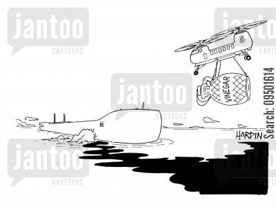 oil and vinegar cartoon humor: Helicopter approaches oil spill with giant vinegar jar.