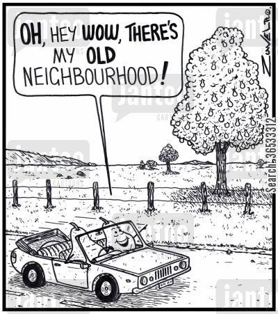 orchard cartoon humor: Pear: 'OH, hey WOW, there's my old Neighbourhood!