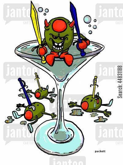 garnish cartoon humor: 'Evil Olive'- An evil olive has taken out his co-workers with cocktail swords.
