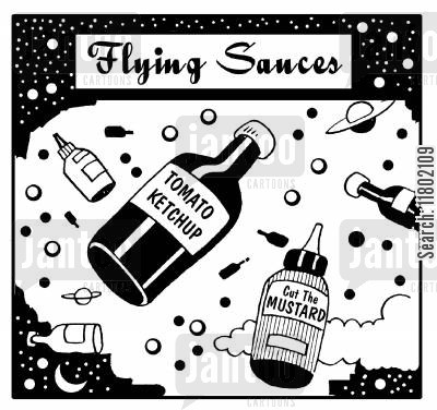 saucers cartoon humor: Flying sauces.