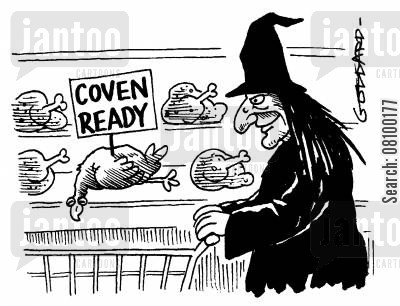 oven ready cartoon humor: Coven ready - Witch in supermarket with a 'coven ready' chicken