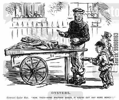 oyster seller cartoon humor: Oysters.