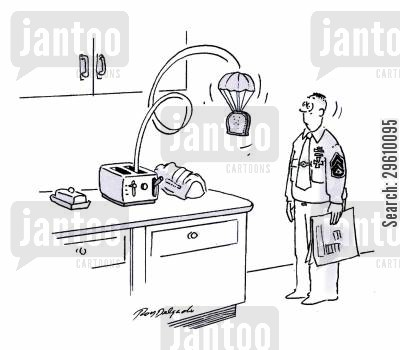 paratroop cartoon humor: Para-Toast.