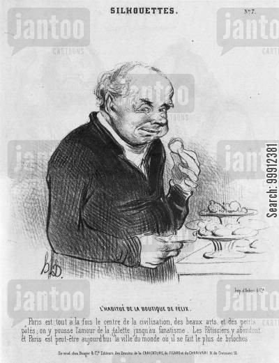 consumption cartoon humor: Parisian man eating pastries