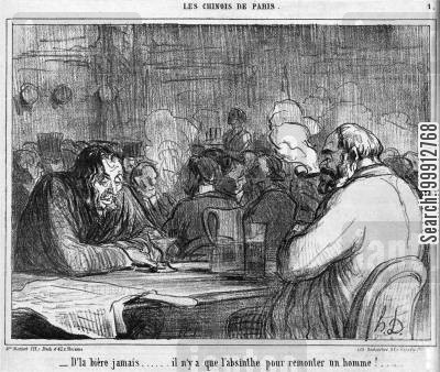 immigrant cartoon humor: The Chinese of Paris - 'Beer!... Never... only absinthe makes a man fit again!'