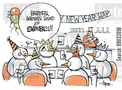 alcholic drinks cartoon humor: 'Bartender, another round of SNOWBALLS!!'