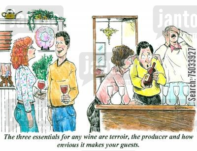envy cartoon humor: 'The three essentials for any wine are terroir, the producer and how envious it makes your guests.'
