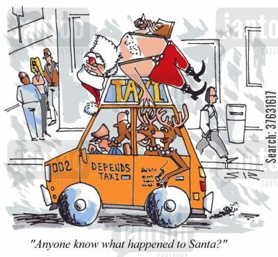 christmas party cartoon humor: Santa Hangover: 'Anyone know what happened to Santa?'