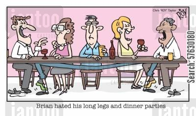 rub cartoon humor: 'Brian hated his long legs and dinner parties'