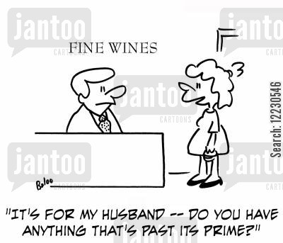 over the hill cartoon humor: 'It's for my husband -- do you have anything that's past its prime?'