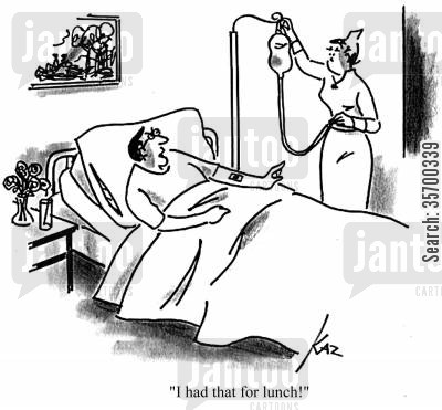 iv cartoon humor: 'I had that for lunch!'