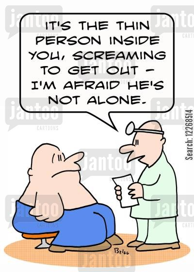 inner children cartoon humor: 'It's the thin person inside you, screaming to get out - I'm afraid he's not alone.