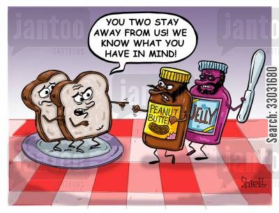 brunch cartoon humor: Peanut Butter and Jam Attack,