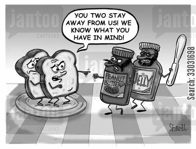brunch cartoon humor: Peanut Butter and Jam Attack. BW