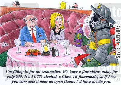 penalties cartoon humor: 'I'm filling in for the sommelier. We have a fine shiraz today for only $39. It's 14.7 alcohol, a Class 1B flammable, so if I see you consume it near an open flame, I'll have to cite you.'