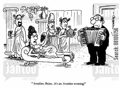 arcadian evening cartoon humor: 'Arcadian, Brian..it's an Arcadian evening!'