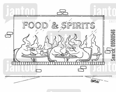 luncheon cartoon humor: Food & Spirits.