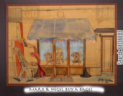 dialectic cartoon humor: Marx & Hegel Buy a Bagel.