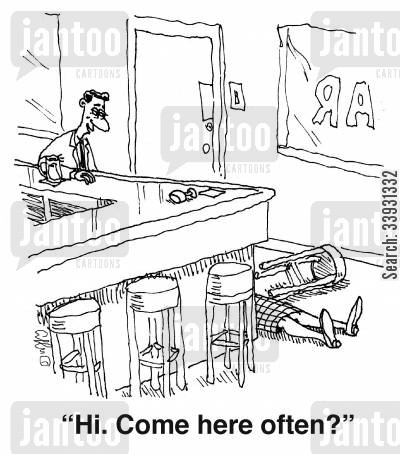 pass out cartoon humor: 'Hi. Come here often?'