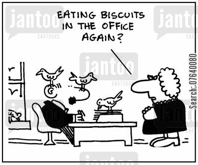 breadcrumb cartoon humor: 'Eating biscuits in the office again?'