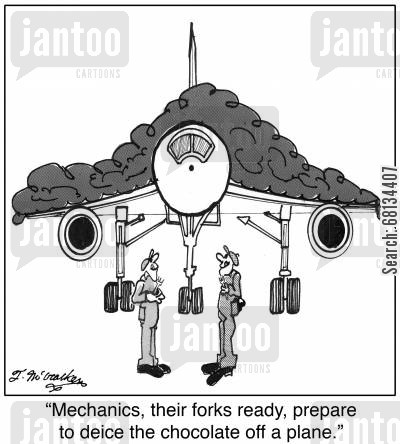 flight safety cartoon humor: Mechanics, their forks ready, prepare to deice the chocolate off a plane.