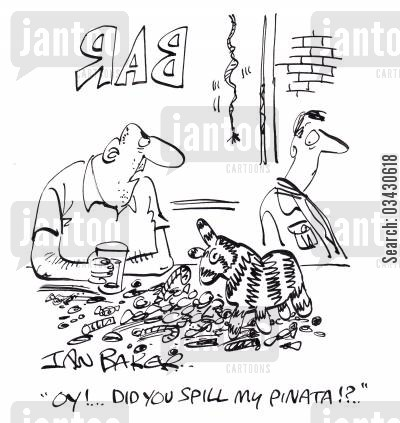 spilling things cartoon humor: 'Oy!...Did you spill my pinata!?'