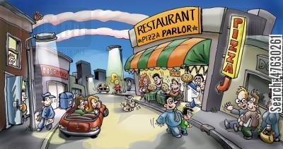 pizza parlours cartoon humor: The Pizza Parlor in town.