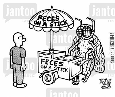 salesmanship cartoon humor: Feces on a stick (huge street vender fly selling shit)
