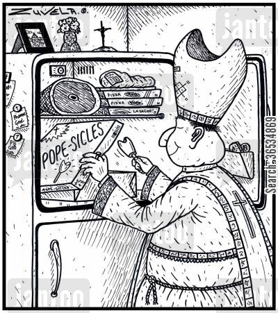 italy cartoon humor: The Pope getting a Popsicle for Popes from the Freezer