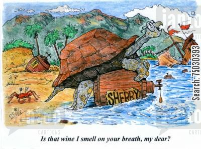 breath cartoon humor: 'Is that wine I smell on your breath, my dear?'