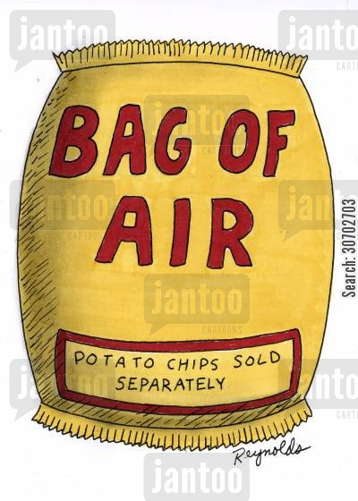 diet foods cartoon humor: Bag of Air - Potato Chips Sold Separately.