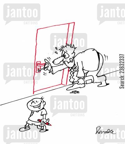 outline cartoon humor: Kid draws door on wall to confuse drunk father.