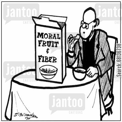 breakfast cereal cartoon humor: Moral Fruit and Fiber Cereal