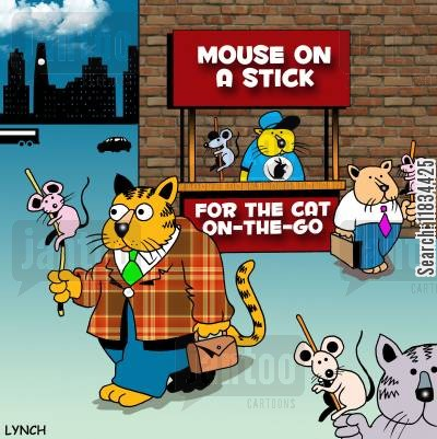 mousers cartoon humor: Mouse on a stick