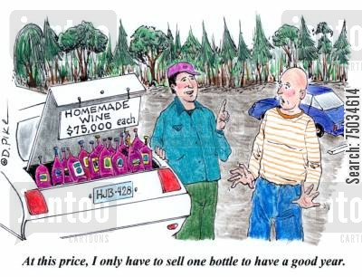 brewers cartoon humor: 'At this price, I only have to sell one bottle to have a good year.'