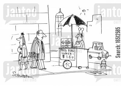 food vendors cartoon humor: Prix Fixe Lunch - $1.50.