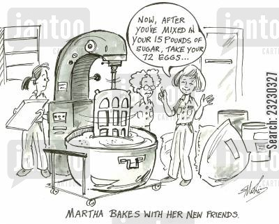 martha cartoon humor: Martha bakes with her new friends.