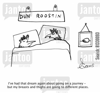 chicken breasts cartoon humor: 'I've had that dream again about going on a journey - but my breasts and thighs are going to different places.'