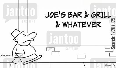 pub food cartoon humor: JOE'S BAR AND GRILL AND WHATEVER
