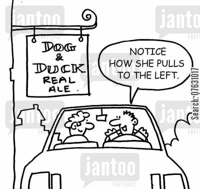 real ale drinker cartoon humor: Passing the Dog and Duck...Notice how she pulls to the left.