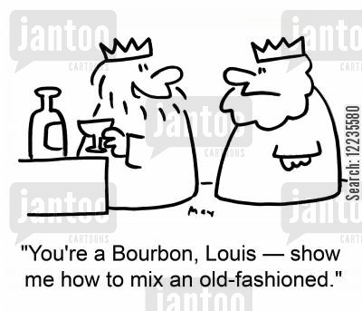 mixers cartoon humor: 'You're a Bourbon, Louis - show me how to mix an old-fashioned.'