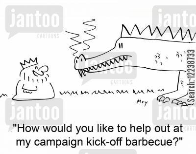 kickoff cartoon humor: 'How would you like to help out at my campaign kickoff barbecue?'