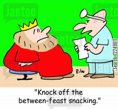 feasts cartoon humor: 'Knock off the between-feast snacking.'