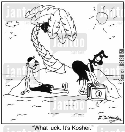 food rules cartoon humor: 'What luck. It's Kosher.'