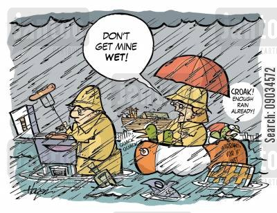 rained cartoon humor: 'Don't get mine wet.'