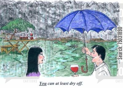 precipitation cartoon humor: 'You can at least dry off.'