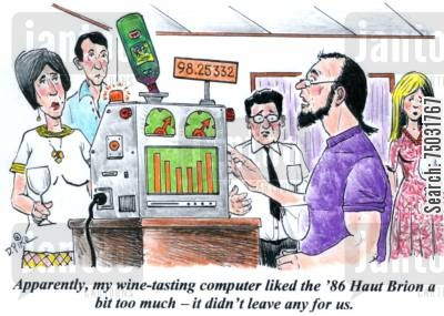 rating cartoon humor: 'Apparently, my wine-tasting computer liked the '86 Haut Brion a bit too much - it didn't leave any for us.'