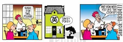 japanese food cartoon humor: Sushi for two please. Oakey dokey...how would you like that cooked?
